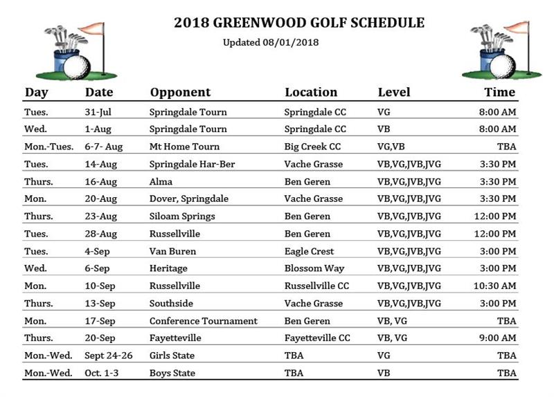 Updated 2018 Golf Schedule